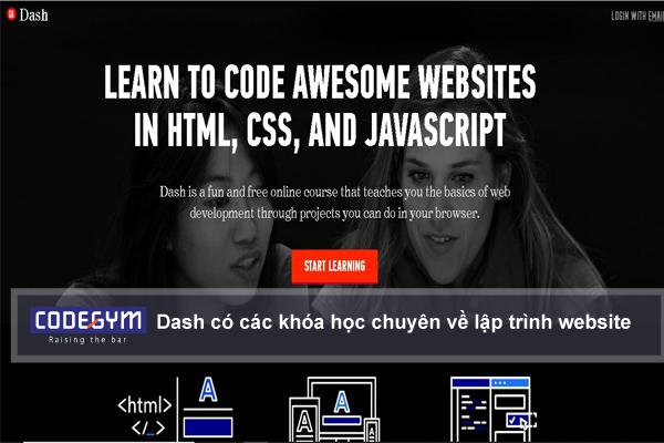 Dash có các khóa học chuyên về lập trình website