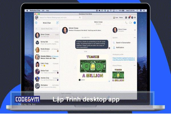 lập trình viên làm phần mềm chạy trên máy tính. Các ngôn ngữ C#, Python, C, C++, đều có thể làm desktop app được