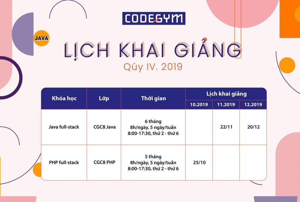 Thông báo lịch khai giảng Quý 4/2019 – CodeGym MonCity