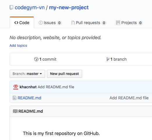 Tạo dự án mới trên GitHub